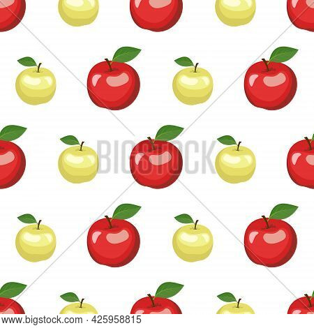 Seamless Pattern With Red And Green Apples And Leaves. A Cute Summer Or Spring Print With Whole Frui