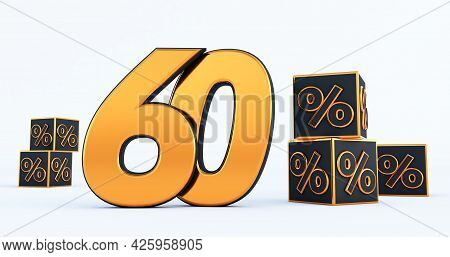 Gold Sixty 60 Percent Number With Black Cubes  Percentages Isolated On White Background. 3d Render