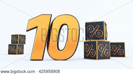 Gold Ten 40 Percent Number With Black Cubes  Percentages Isolated On White Background. 3d Render