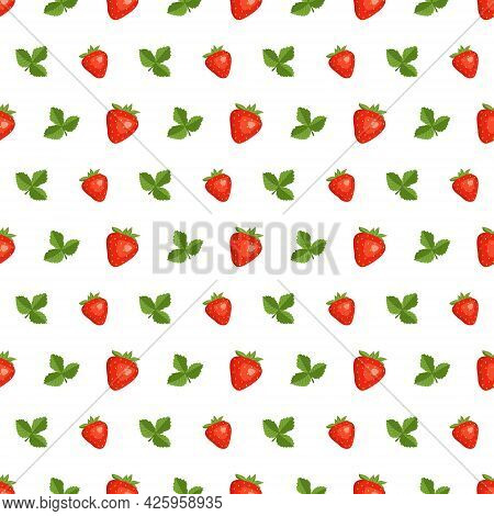 Seamless Background With Red Strawberries And Leaves. Cute Summer Or Spring Print. Festive Decoratio