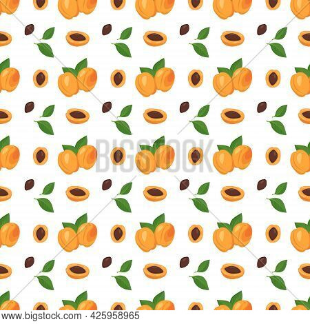 Seamless Background With Apricots, Seeds And Leaves. A Cute Summer Or Spring Print With Whole And Ha