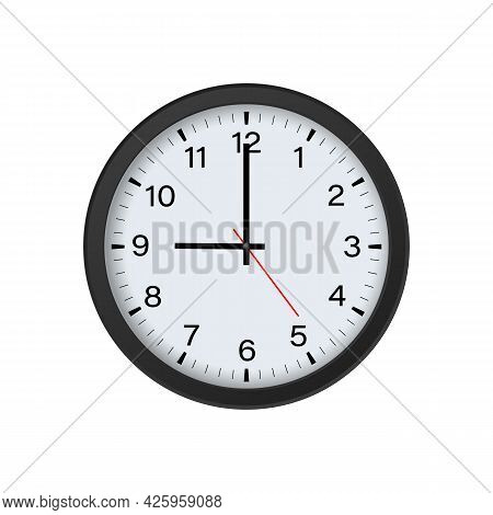 Circle Black Clock Mockup Showing 9 O'clock Isolated On White Background. Vector Illustration