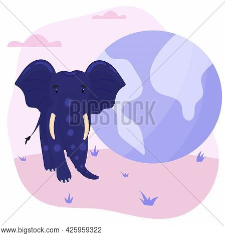 World Elephant Day. Vector Illustration About The Protection And Conservation Of The Elephant Popula