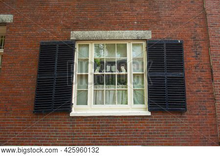 Antique Window On The Historic Row Houses On Acorn Street On Beacon Hill In Historic City Center Of