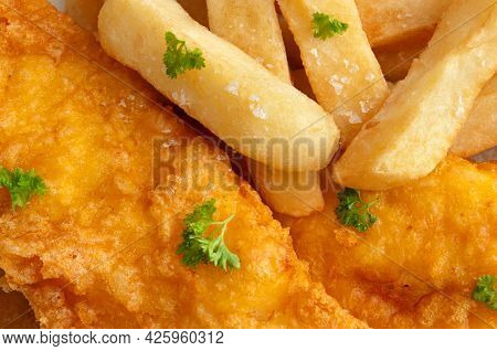 Fish And Chips Meal Close Up Food
