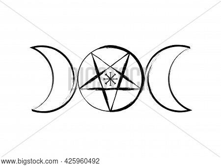Triple Moon Goddess Wicca Pentacle Symbol, Pagan Witchcraft Icon In Brush Stroke Style. Vector Isola