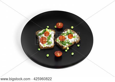 Bruschetta With Cream Cheese And Vegetables Isolated On A White Background. Toasts Isolated. Sandwic