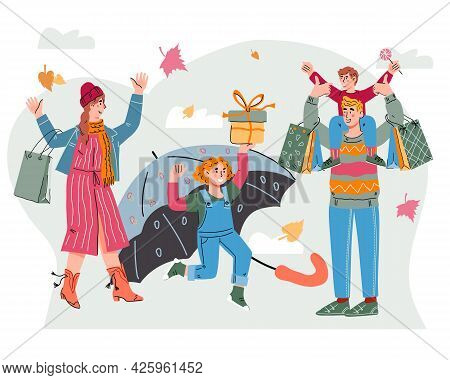 Family With Children Shopping Goods In Autumn At Seasonal Sale, Flat Cartoon Vector Illustration Iso