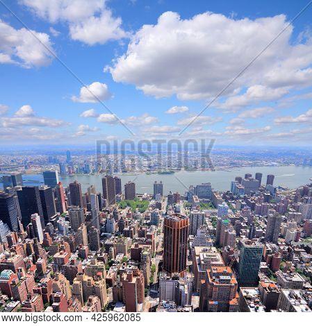 New York City. Midtown Manhattan Aerial View Towards Tudor City, Murray Hill, Kips Bay And East Rive