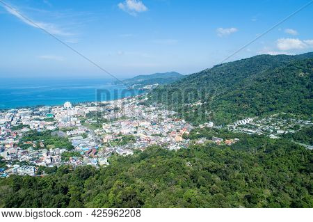 Aerial View Blue Ocean And Blue Sky With Mountain In The Foreground At Patong Bay Of Phuket Thailand