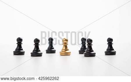 Golden Chess Pawn Standing With The Team To Show Influence And Empowerment. Concept Of Business Lead