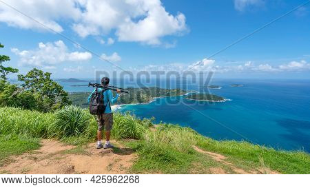 Travel Man Photographer Standing On Rock To See Landscape View At Phahindum Viewpoint Popular Landma