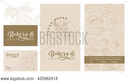 A Set Of Templates For A Bread Store. Template Of A Booklet, Flyers, Business Cards With A Set Of Br