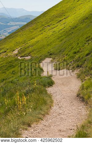 View Of Steep Mountain Path For Vettore Mountain