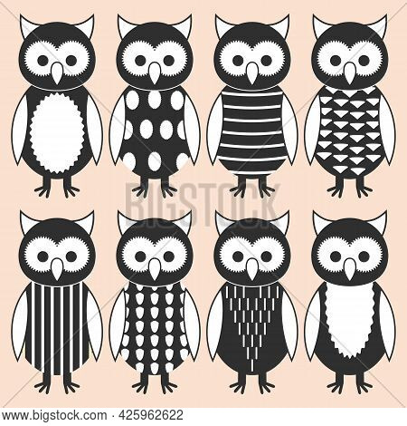 Set Of Cute Nestlings Of Owl In Different Clothes And Suits. Owlets With Different Patterns On Body.