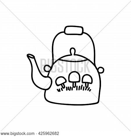 Single Hand Drawn Kettle With Mushrooms. Doodle Vector Illustration. Isolated On A White Background.