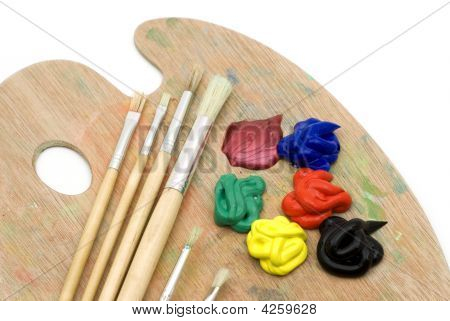 Painting Brushes And Palette
