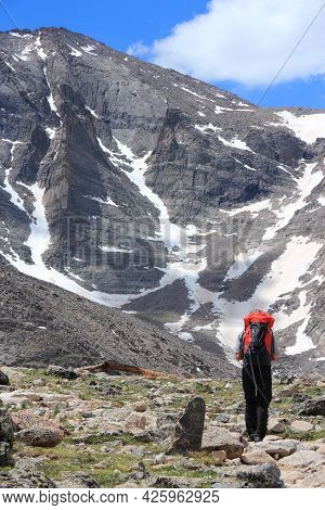 Rocky Mountains, Usa - June 18, 2013: Tourist Hikes To Longs Peak In Rocky Mountain National Park, C