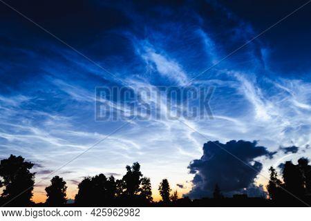 Mesospheric Clouds In The Darkening Evening Sky, A Rare Natural Phenomenon, Soft Focus