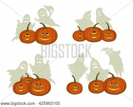 Holiday Halloween Symbols, Cartoons Pumpkins Jack O Lantern And Ghosts Silhouettes Isolated On White