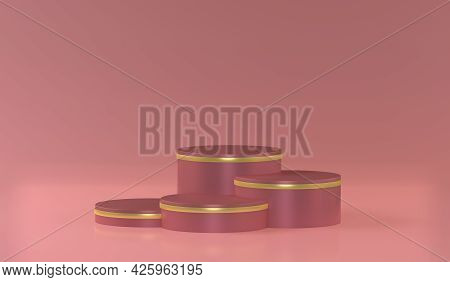 Stepped Pedestal Of Four Rose Cylinders With Golden Rim In Studio Lighting On Rose Background. 3d Re