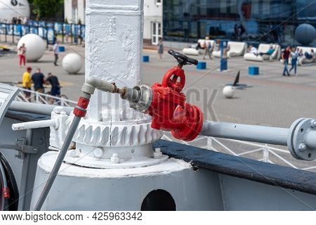 Industrial Transfer Of The Red Fire Hydrant. Water Fire Extinguishing System. Fire Safety. Manual Ga