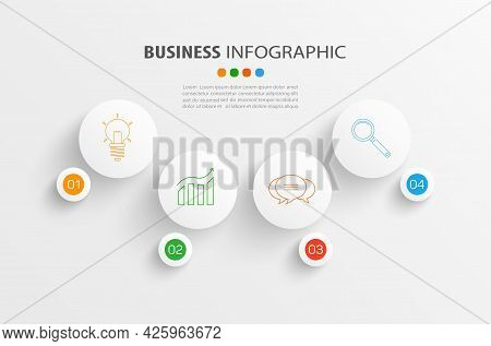 Infographic Template With 4 Options, Workflow, Process Chart. Can Be Used For Workflow Layout, Diagr