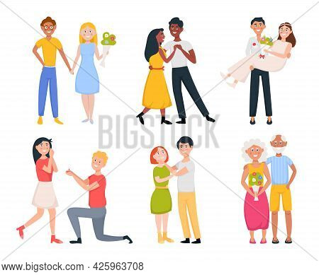 Set Of Cute Romantic Couples In Love. Happy People Hug Each Other, Holding Hands, Dancing. Proposing