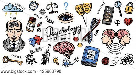 Psychology Science Symbols. Psychologist Online. Clew And Dna, Puzzle And Key. Hand Drawn Sketch. Ps