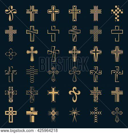 Set Of Icons Cross. Gold Christian Cross.