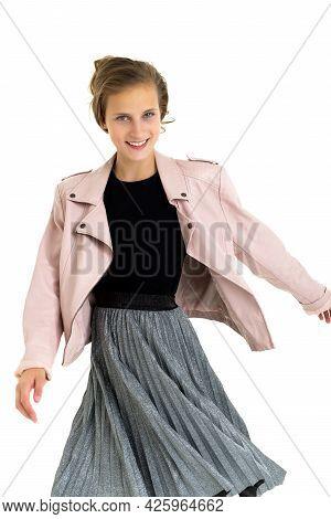 Joyful Stylish Slim Teenage Girl. Happy Beautiful Teen Girl With Brown Hair Dressed Leather Jacket,