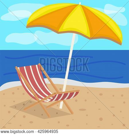 Beach Umbrella And Sun Lounger On The Beach With Sand Against The Background Of The Sea And Sky