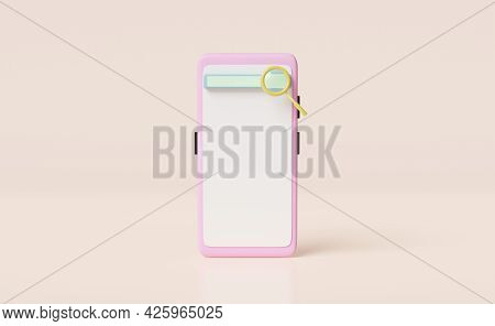 Mobile Phone Or Smartphone With Blank Search Bar Isolated On Biege Background ,minimal Web Search En