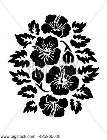 Hibiscus Flowers Tropical Exotic Vector Tattoo Silhouette Drawing Illustration.hawaiian Floral Stenc