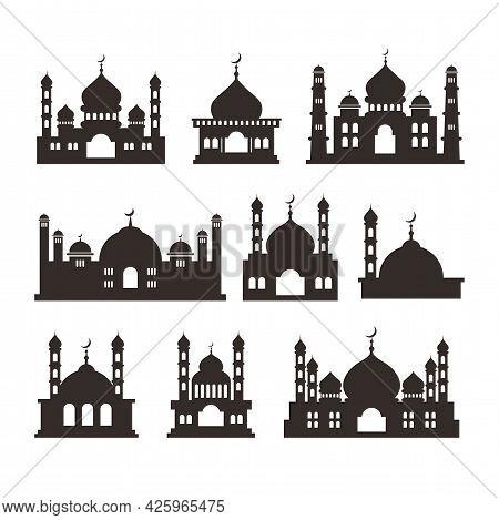 Set Of Islamic Mosque Silhouette Design, Islamic Mosque Illustration Template Vector