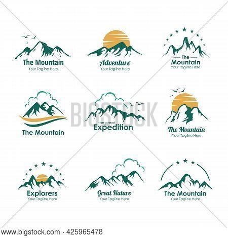 Set Of Mountains Logo Illustration Design Template Vector