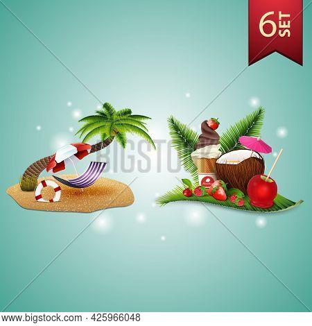 Set Of 3D Volumetric Summer Icons For Your Arts, Palm Tree, Hammock, Beach Umbrella, Coconut Cocktai