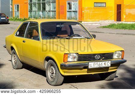 Petrozavodsk, Russia - 3 June 2021. Vintage Yellow Opel Kadett C Coupe