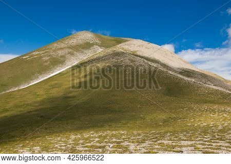 View Of The Summit Of Vettore Mountain, The Highest Peak Of The Marche Region In The National Park O