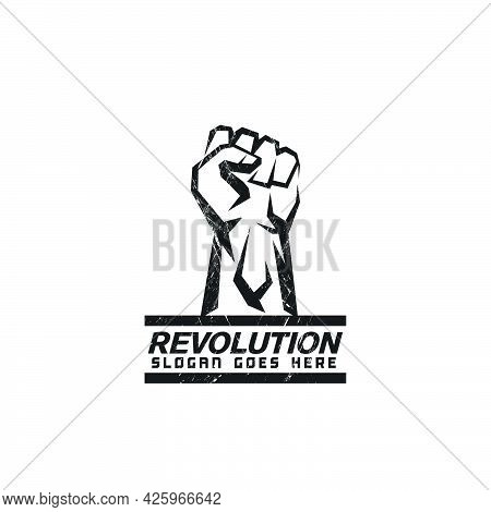 Abstract Raised Fist Symbol In Grunge Style,fight Logo,icon,revolution,protest,give Up,strength,icon