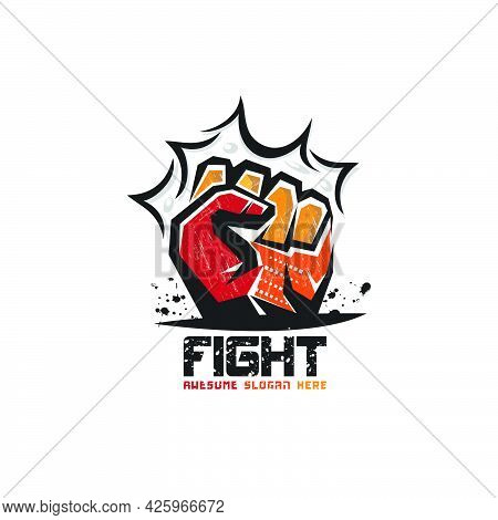 Abstract Fist Logo In Grunge Style,strength Logo,fight Concept Logo,emblems,protest,human,victory,ve