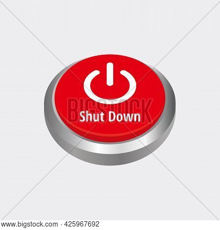 Shut Down Icon With 3d Red Circle Button Template Vector