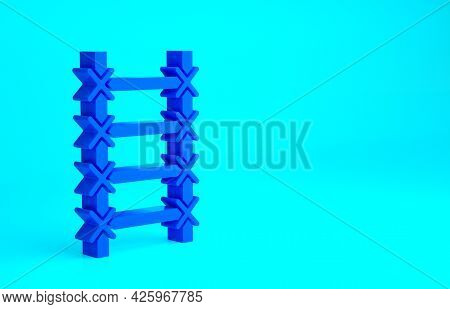 Blue Fire Escape Icon Isolated On Blue Background. Pompier Ladder. Fireman Scaling Ladder With A Pol