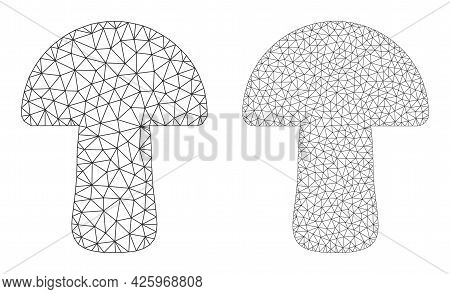 Mesh Vector Mushroom Icons. Mesh Carcass Mushroom Images In Low Poly Style With Structured Triangles