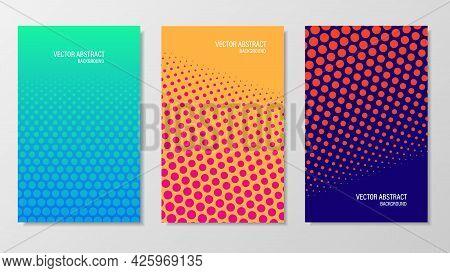 Circle Dot-like Gradient Minimal Covers Design. Halftone Dots Colorful Design. Futuristic Geometric