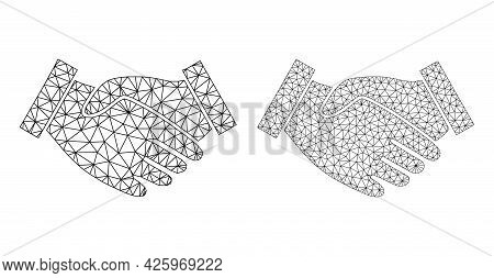 Mesh Vector Hand Take Icons. Mesh Carcass Hand Take Images In Lowpoly Style With Combined Triangles,