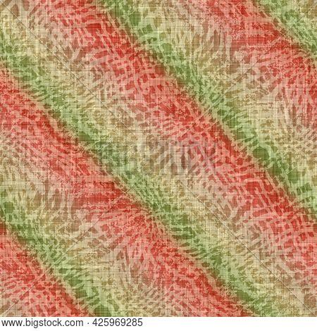 Diagonal Melange Stripe Wash Out Background. Hand Painted Farmhouse Cottage Linen Seamless Pattern.