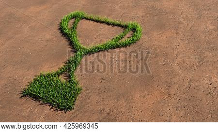 Concept conceptual green summer lawn grass symbol shape on brown soil or earth background, a cup sign. 3d illustration metaphor for victory, winning, success, achievement, triumph, champion and prize