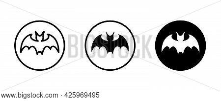 Bat Icon Vector, Sign, Symbol, Logo, Illustration, Editable Stroke, Flat Design Style Isolated On Wh