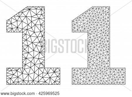 Mesh Vector Digit One Icons. Mesh Wireframe Digit One Images In Low Poly Style With Combined Triangl